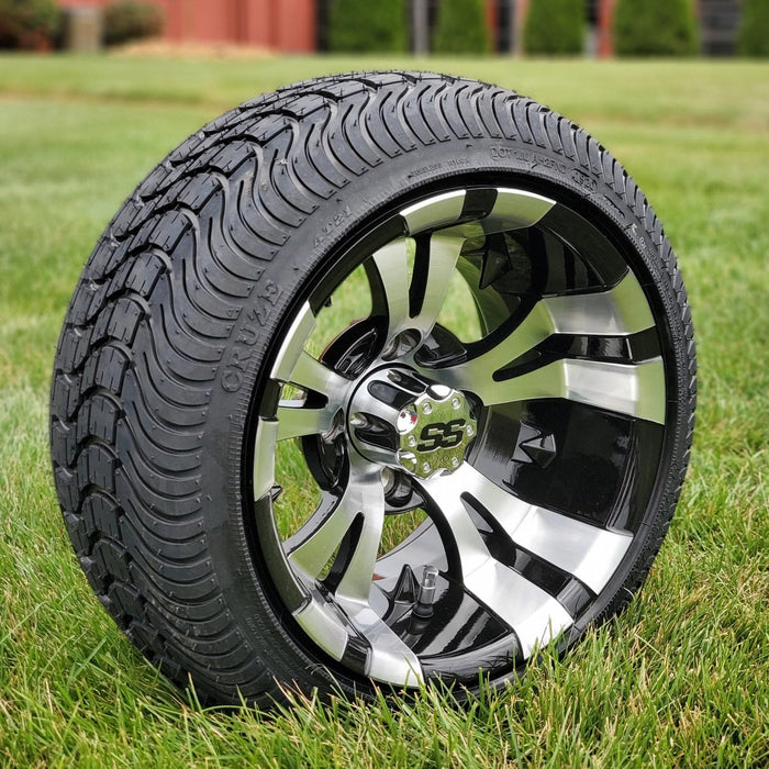 Angled view of low profile turf tire and Vampire style rim combo set for golf cart in black and machined aluminum.
