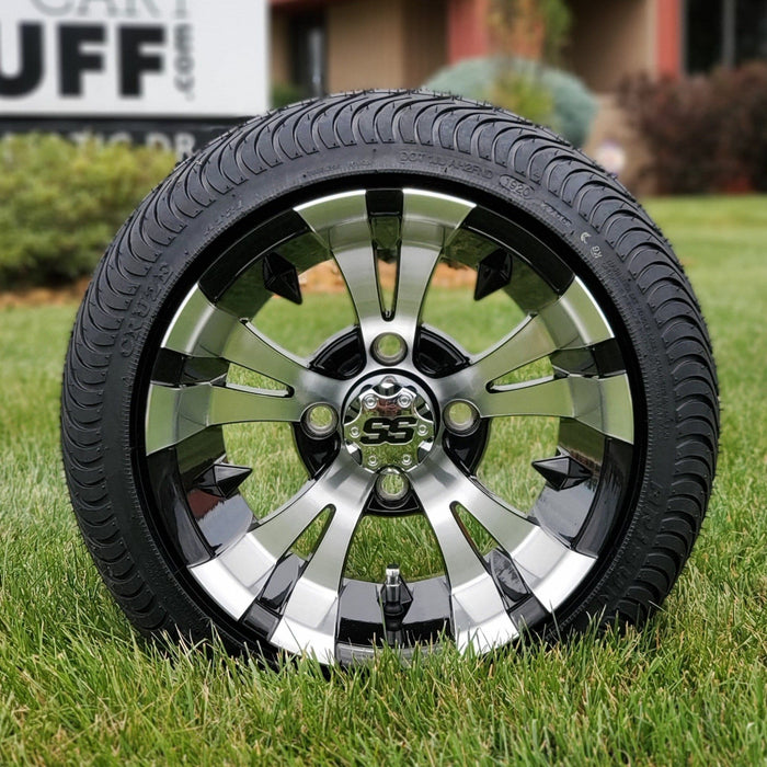 Low profile turf tire and Vampire style rim combo set for golf cart in black and machined aluminum.