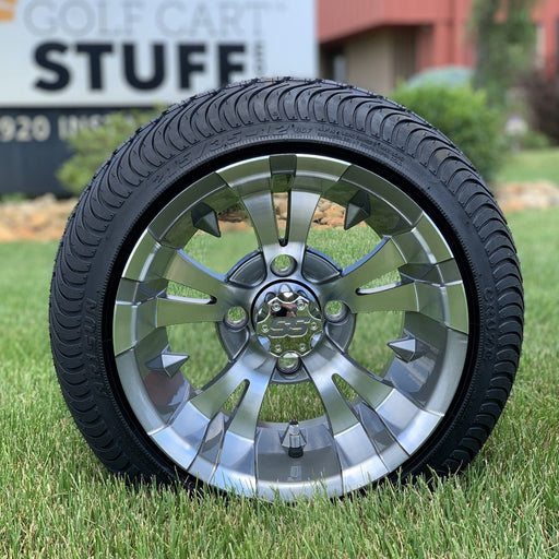 Low profile turf tire and Vampire style rim combo set for golf cart in gunmetal finish.