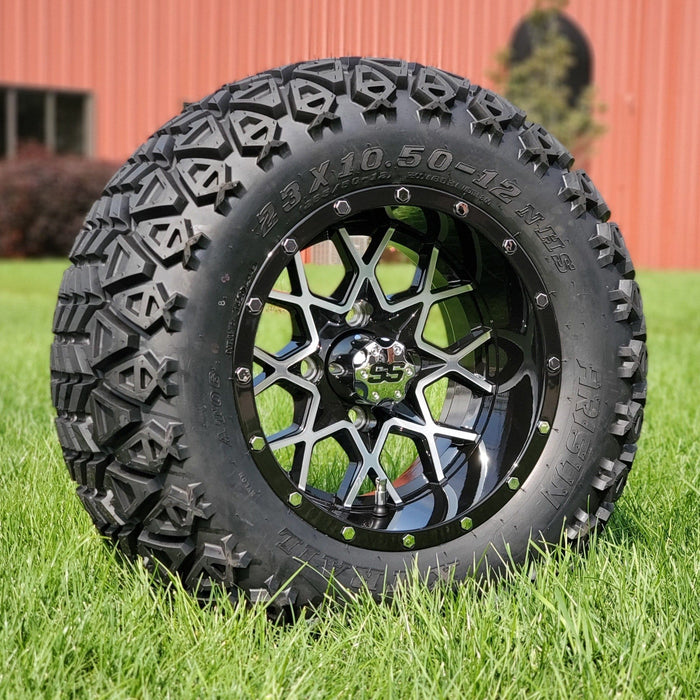 "Angled view of 12"" Matrix off-road golf cart black and machined aluminum wheel and tire combo set with 23"" off road tires."