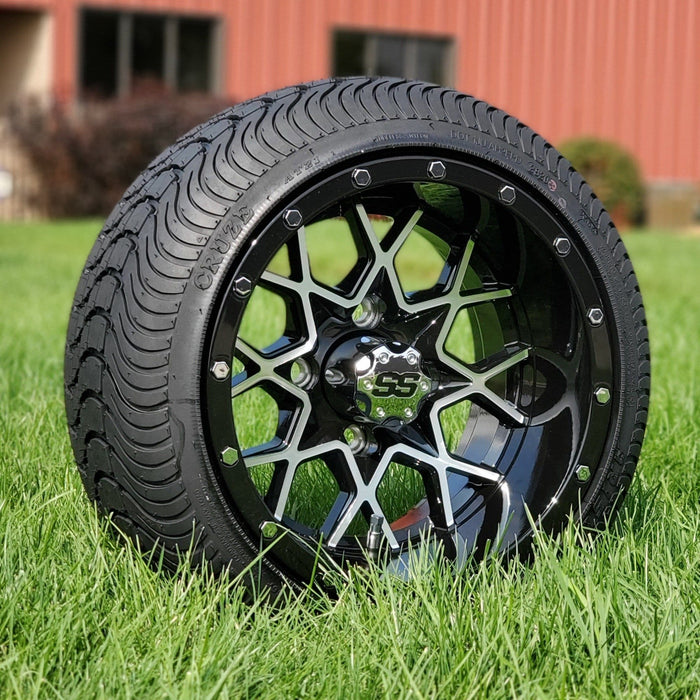 "12"" Matrix Aluminum SS Wheels in Black and Machined Aluminum Finish and 215/35-12 Low-Profile Arisun Cruze Turf Tires Combo - Set of 4"