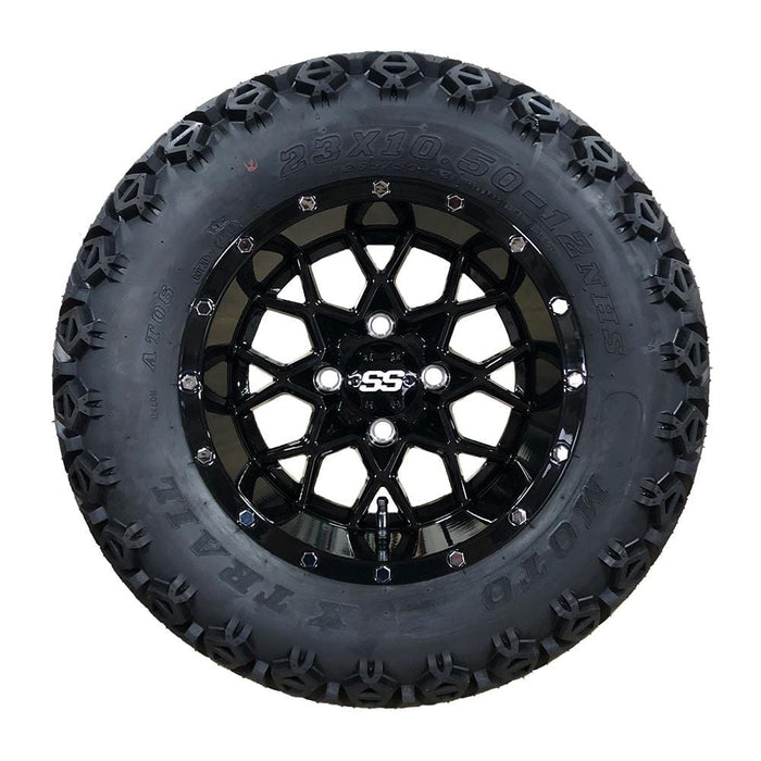 "12"" Matrix off-road golf cart gloss black wheel and tire combo set with 23"" off road tires."