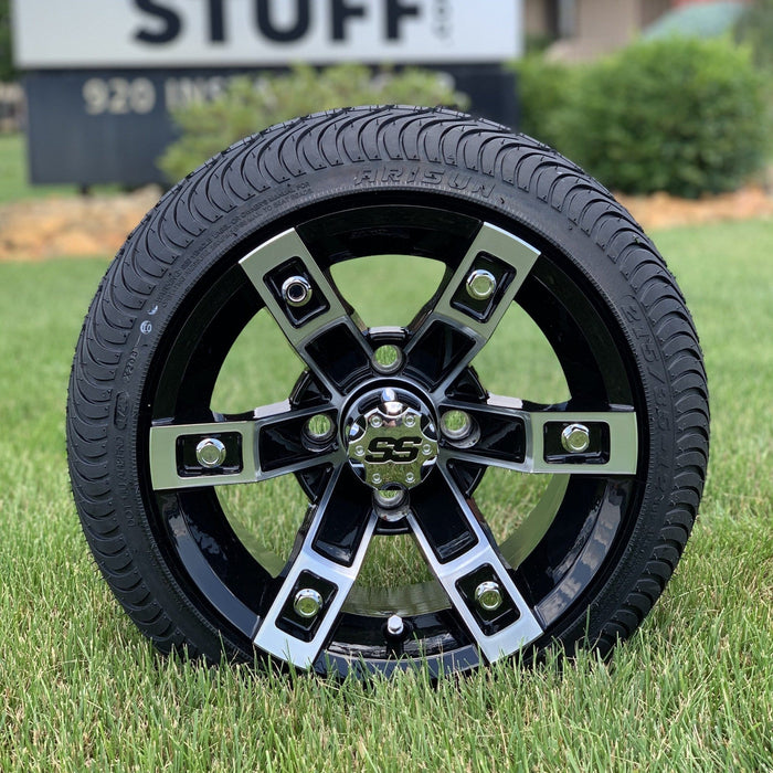 12 inch low profile turf tire and Rebel aluminum wheel combo set for golf cart.