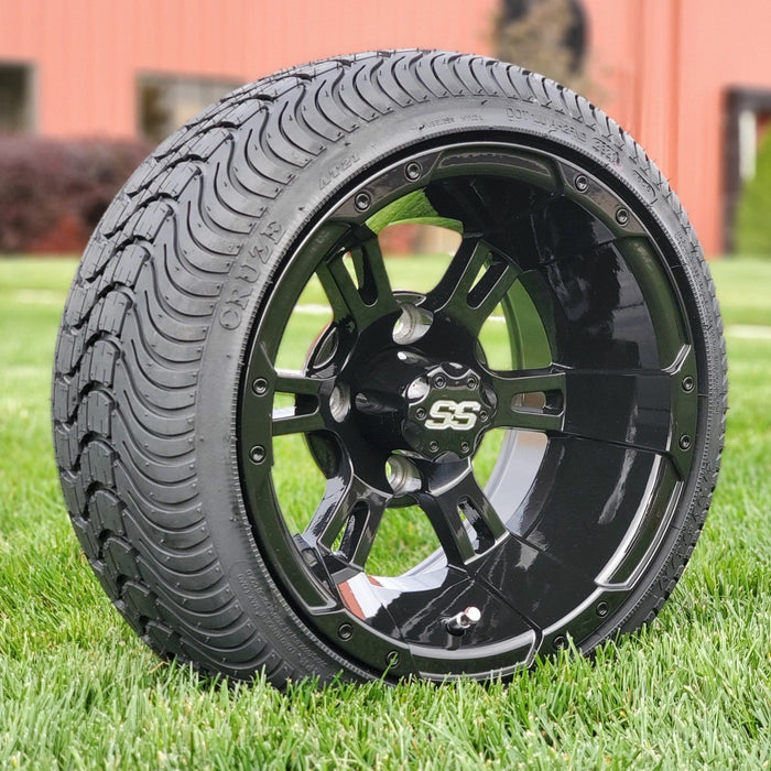 Angled view of 12 inch low profile turf tire and Stallion gloss black finish wheel combo set for golf cart.