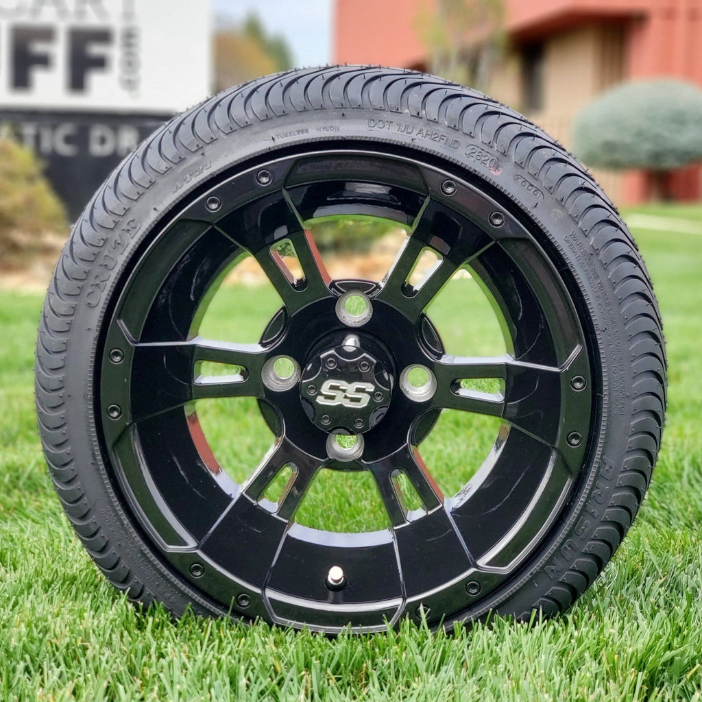 12 inch low profile turf tire and Stallion gloss black finish wheel combo set for golf cart.