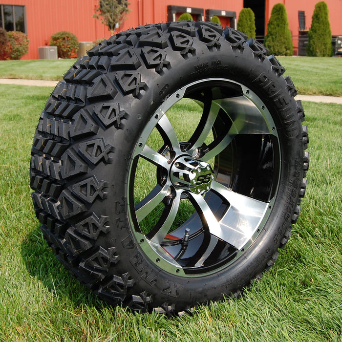 "Angled view of 14"" Boomerang black and machined off-road golf cart wheel and tire combo set with 23"" Arisun tires."