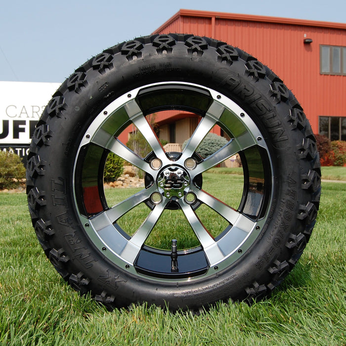 "14"" Boomerang black and machined off-road golf cart wheel and tire combo set with 23"" Arisun tires."