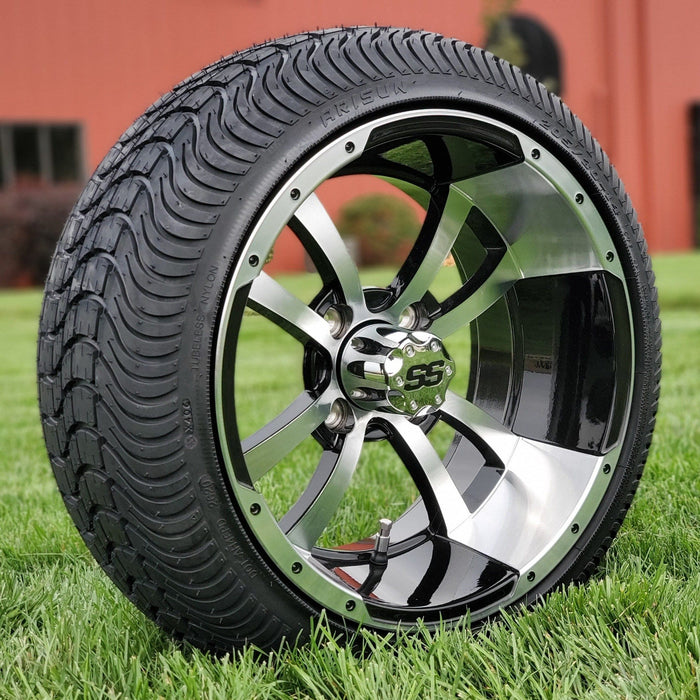 "Angled view of low profile turf tire and 14"" Boomerang style rim combo set for golf cart in black and machined aluminum."