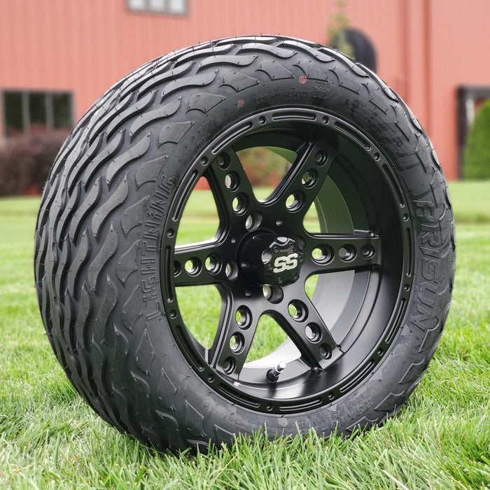 "Angled view of 14"" matte black Eagle off-road golf cart wheel and tire combo set with 23"" Arisun tires."