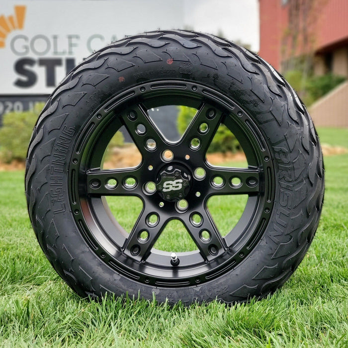 "14"" matte black Eagle off-road golf cart wheel and tire combo set with 23"" Arisun tires."