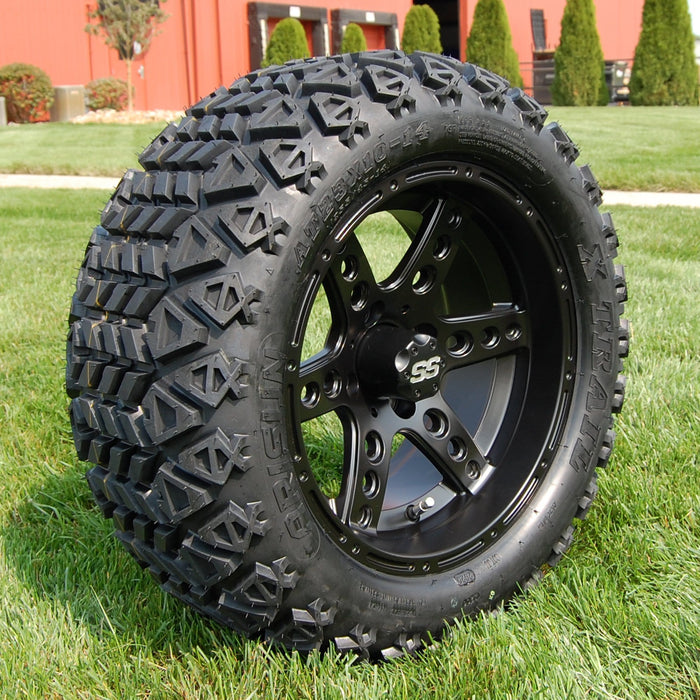 "Angled view of 14"" Eagle matte black off-road golf cart wheel and tire combo set with 23"" Arisun tires."