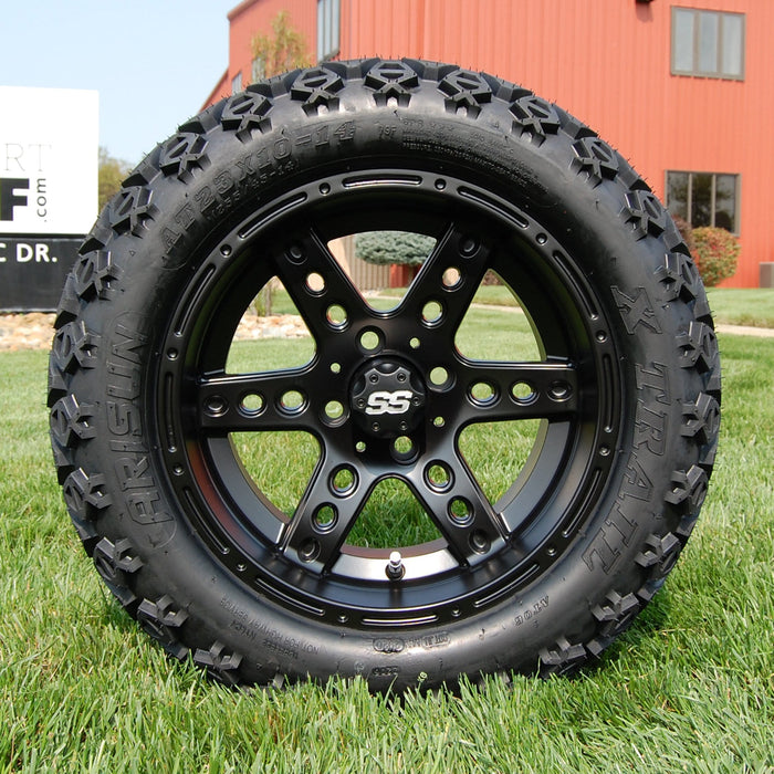 "14"" Eagle matte black off-road golf cart wheel and tire combo set with 23"" Arisun tires."