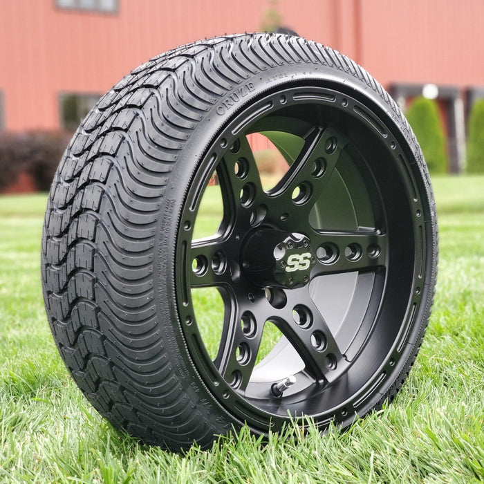 "Angle view of low profile turf tire and 14"" Eagle style rim combo set for golf cart in matte black."