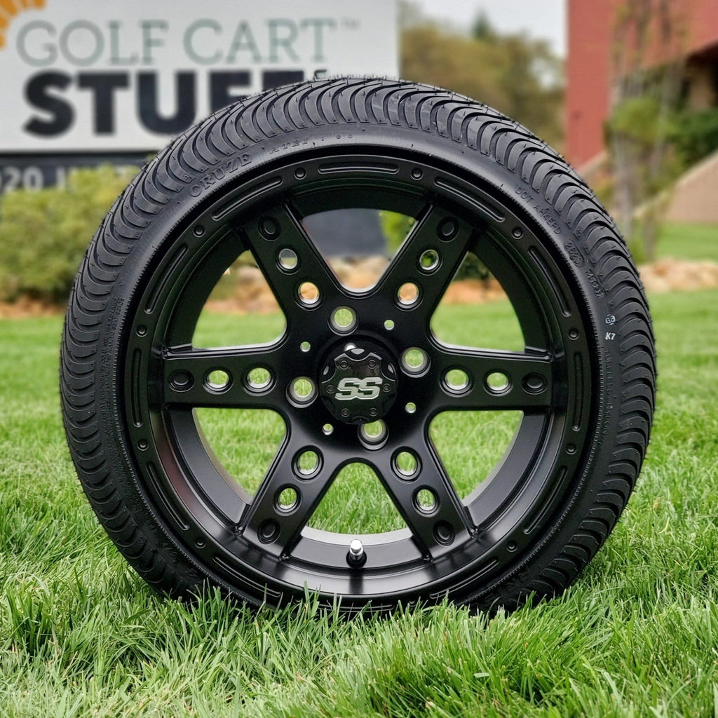 "Low profile turf tire and 14"" Eagle style rim combo set for golf cart in matte black."