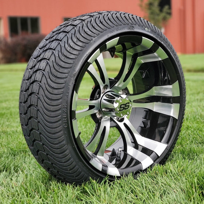 "Angled view of low profile turf tire and 14"" Vampire style rim combo set for golf cart in black and machined aluminum."