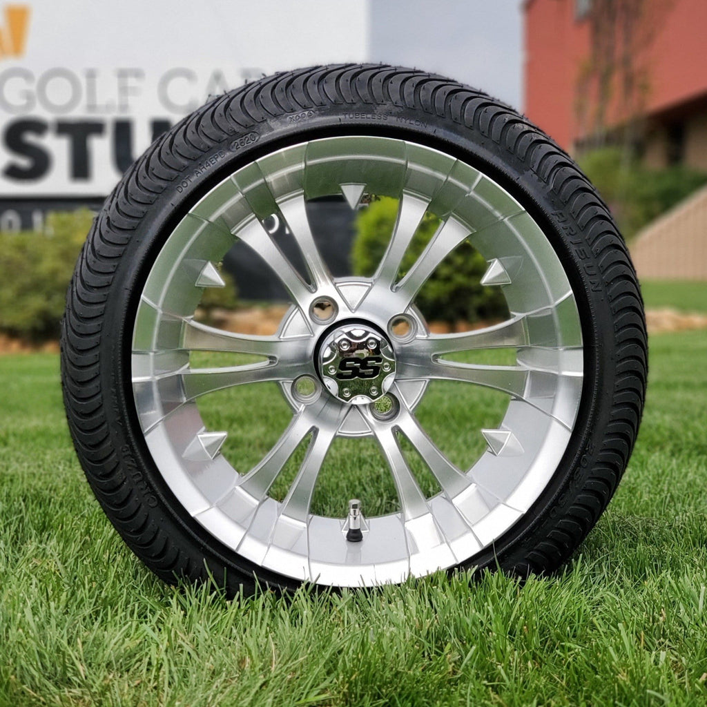 "Low profile turf tire and 14"" Vampire style rim combo set for golf cart in silver and machined aluminum."