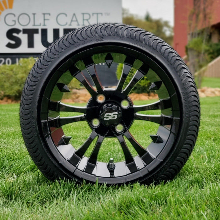 "Low profile turf tire and 14"" Vampire style rim combo set for golf cart in gloss black."