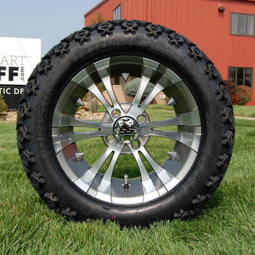 "14"" Vampire gunmetal and machined off-road golf cart wheel and tire combo set with 23"" Arisun tires."