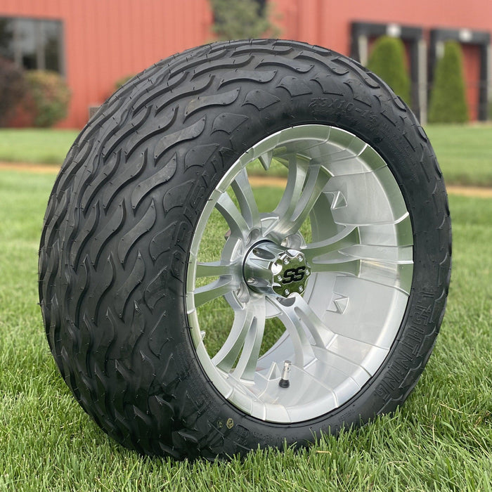 "Angled view of 14"" silver Vampire off-road golf cart wheel and tire combo set with 23"" Arisun tires.."