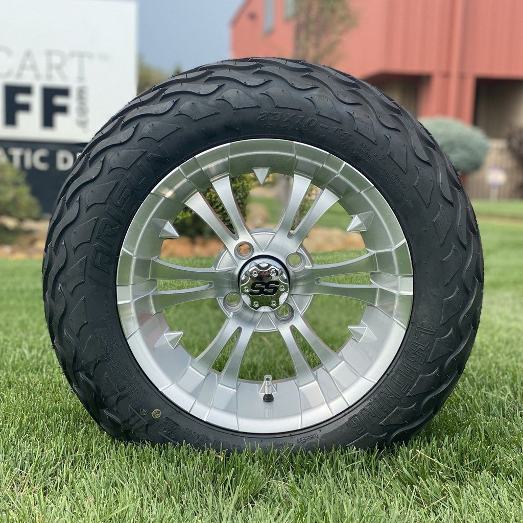 "14"" silver Vampire off-road golf cart wheel and tire combo set with 23"" Arisun tires.."