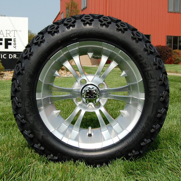 "14"" Vampire silver and machined off-road golf cart wheel and tire combo set with 23"" Arisun tires."
