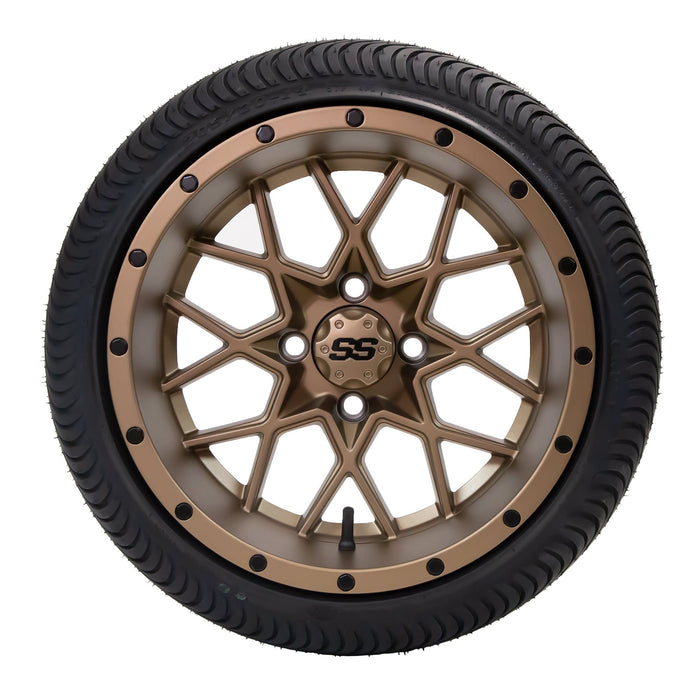 "Low profile turf tire and 14"" Matrix style rim combo set for golf cart in matte bronze finish."