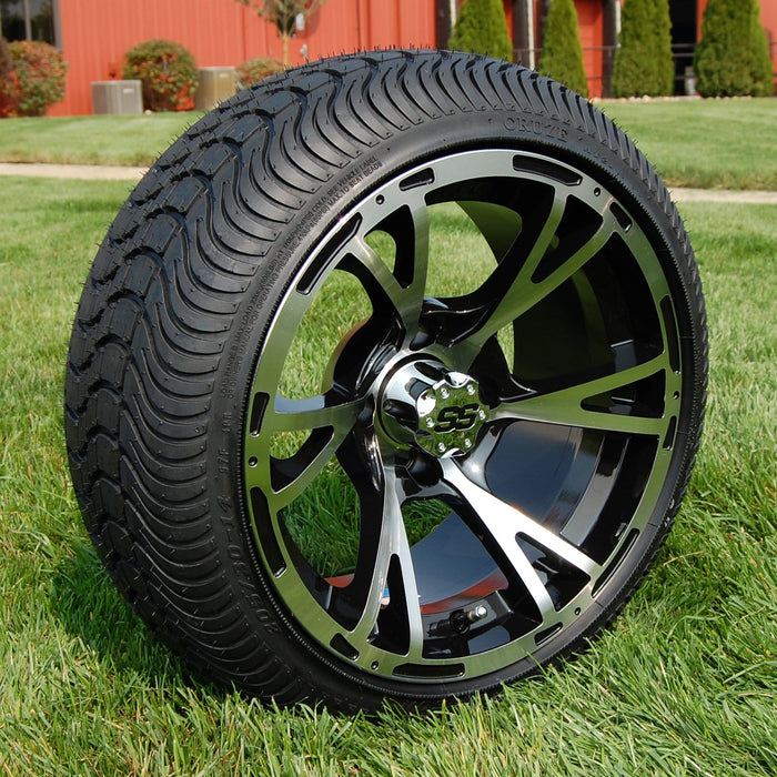 "Angled view of low profile turf tire and 14"" Ranger style rim combo set for golf cart in black and machined aluminum."