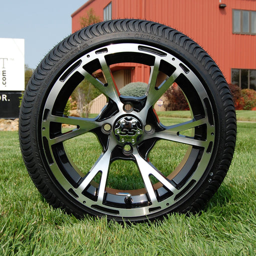 "Low profile turf tire and 14"" Ranger style rim combo set for golf cart in black and machined aluminum."