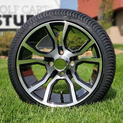 "Low profile turf tire and 14"" Slingshot style rim combo set for golf cart in black and machined aluminum."