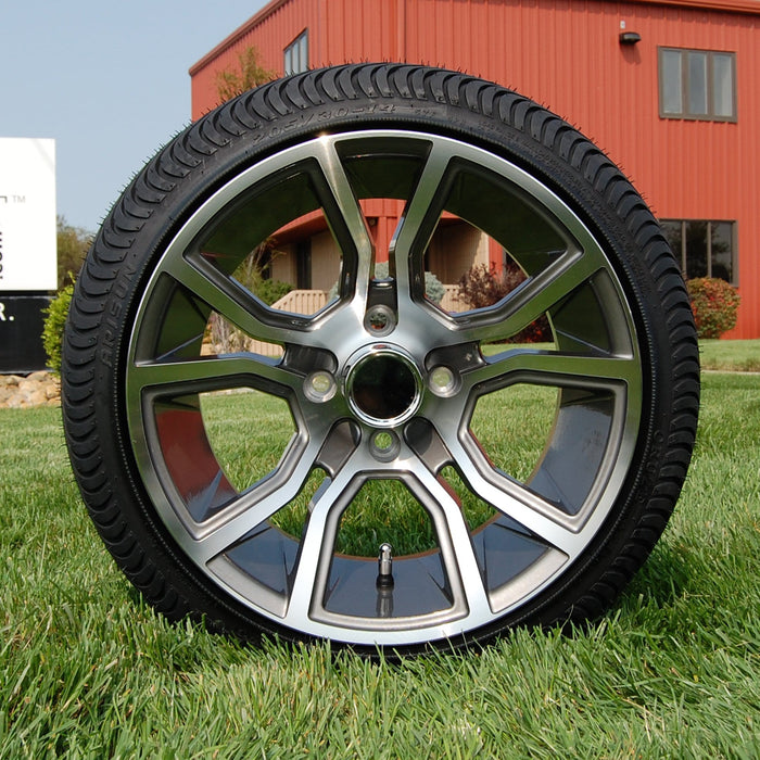 "Low profile turf tire and 14"" Slingshot style rim combo set for golf cart in gunmetal and machined aluminum."