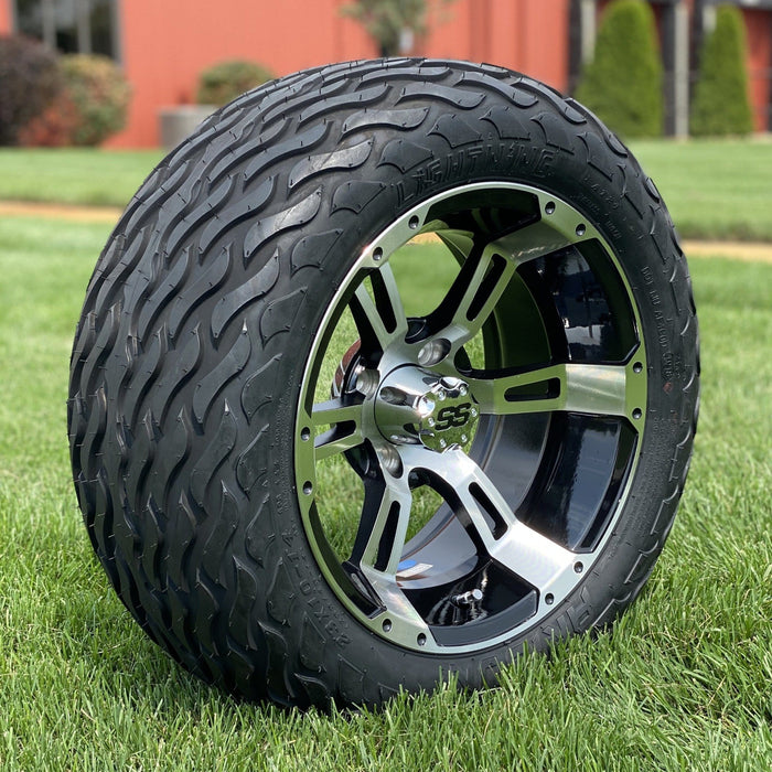 "Angled view of 14"" Stallion off-road golf cart wheel in black and tire combo set with 23"" Arisun tires.."