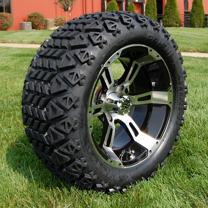 "Angled view of 14"" Stallion black and machined off-road golf cart wheel and tire combo set with 23"" Arisun tires."