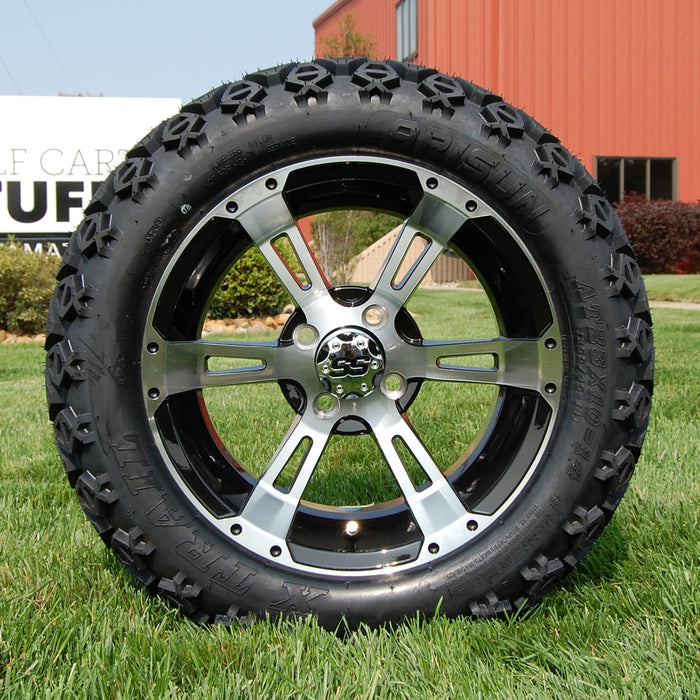 "14"" Stallion black and machined off-road golf cart wheel and tire combo set with 23"" Arisun tires."