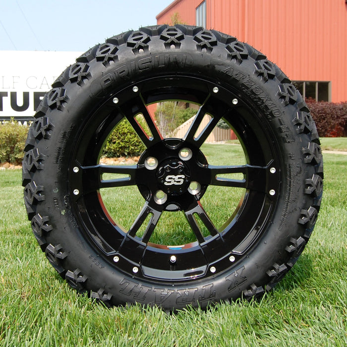 "14"" Stallion gloss black off-road golf cart wheel and tire combo set with 23"" Arisun tires."