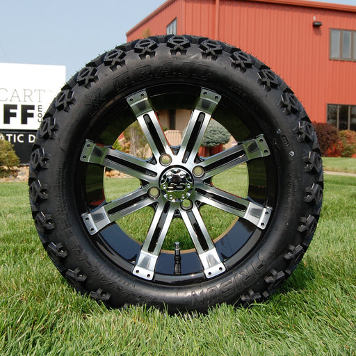 "14"" Storm black and machined off-road golf cart wheel and tire combo set with 23"" Arisun tires."