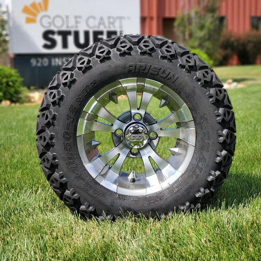 "12"" Vampire off-road golf cart wheel and tire combo set with 23"" off road tires in gunmetal finish."