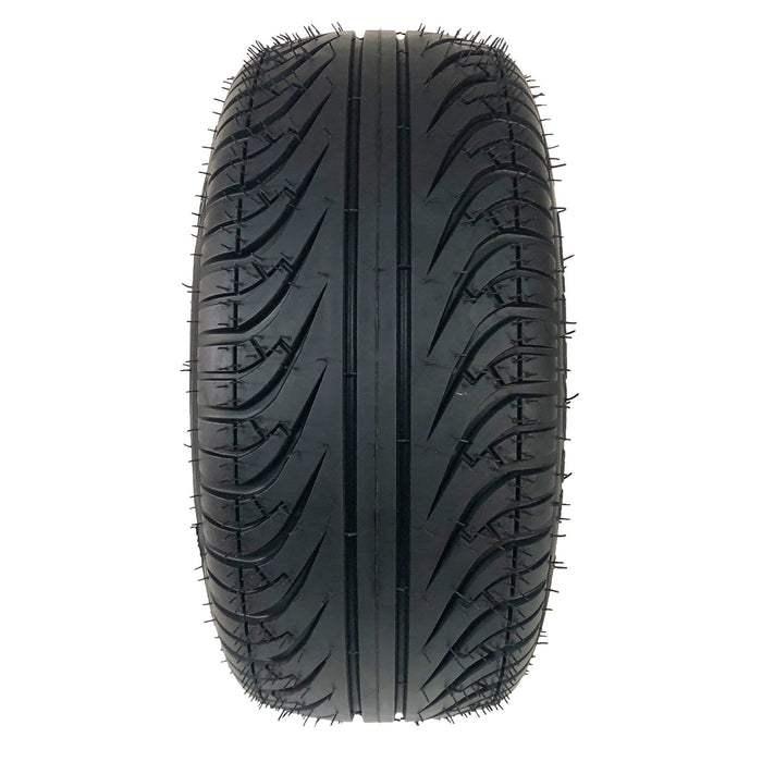 Photo featuring tread of 205/50-10 Forerunner low profile golf cart tire.