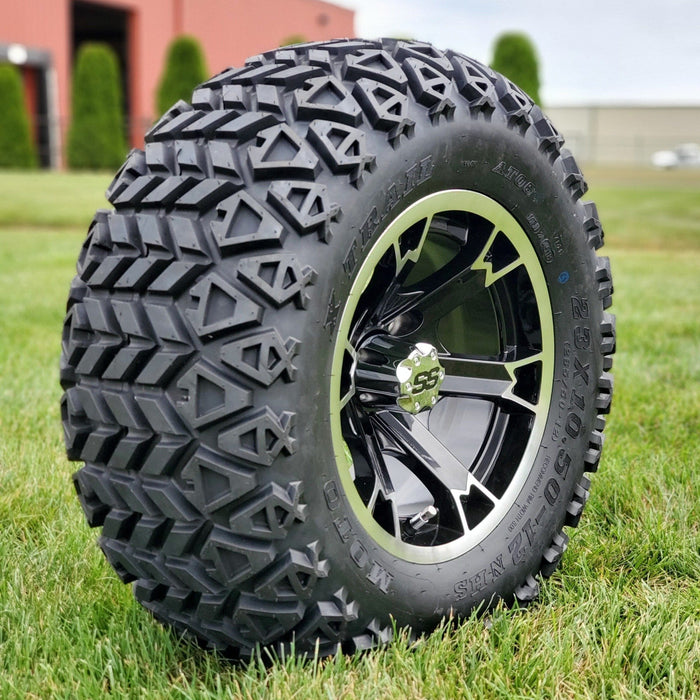 "Angled photo of 23"" off-road golf cart tire and Crown black wheel combo."