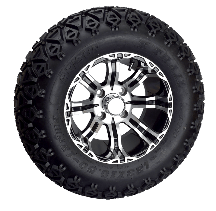 "Black and brushed finish on golf cart off road 23"" wheel and tire combo."