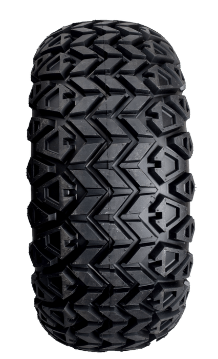 "Knobby tread design on off road 23"" tires."