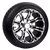 "12"" lama wheel and Arisun tire combo featuring gloss black finish for golf cart."