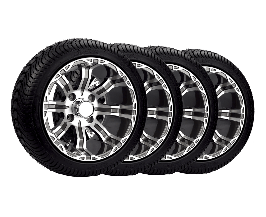 "Set of 4 12"" golf cart wheels and tires featuring Arisun tires, Lama rims, and center caps and lug nuts."