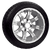 "12"" lama wheel and Arisun tire combo featuring silver finish for golf cart."