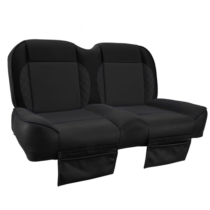 Paramount custom Club Car Precedent golf cart front seat assembly in all black with pockets.