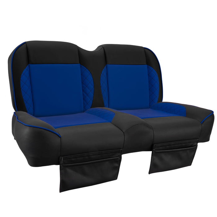 Paramount custom Club Car Precedent golf cart front seat assembly in black and blue with pockets.