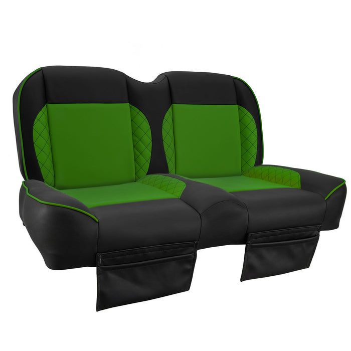Paramount custom Club Car Precedent golf cart front seat assembly in black and green with pockets.