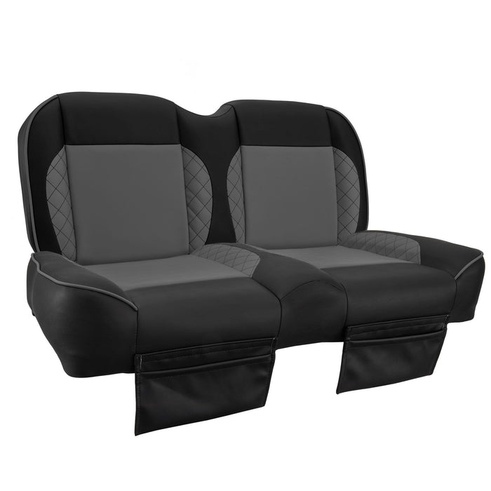 Paramount custom Club Car Precedent golf cart front seat assembly in black and grey with pockets.