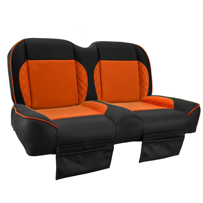 Paramount custom Club Car Precedent golf cart front seat assembly in black and orange with pockets.