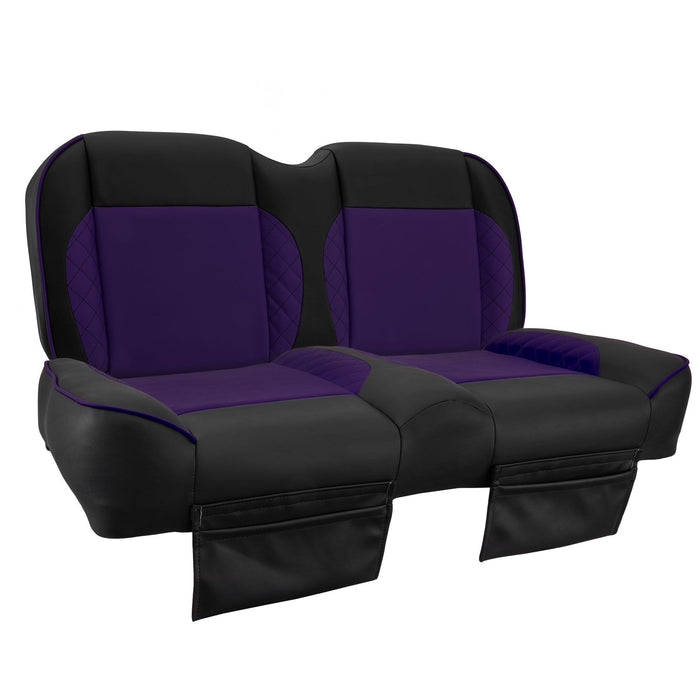 Paramount custom Club Car Precedent golf cart front seat assembly in black and purple with pockets.