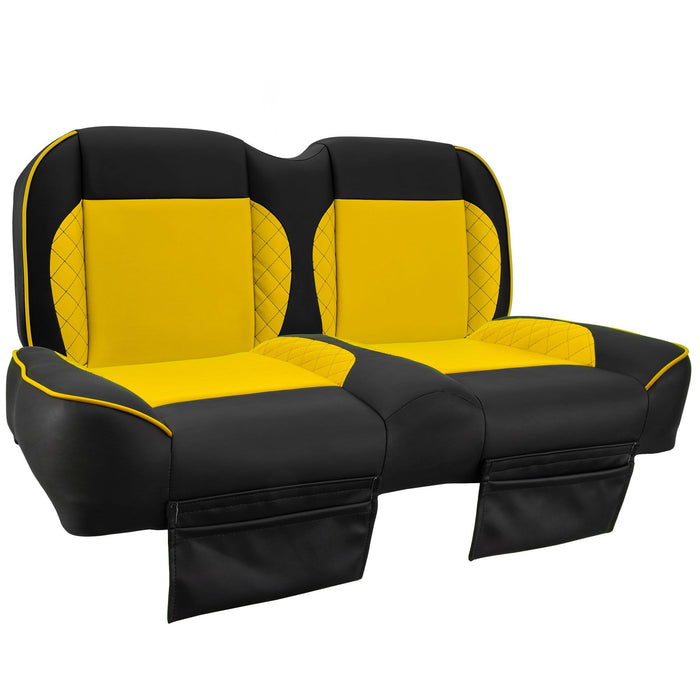 Paramount custom Club Car Precedent golf cart front seat assembly in black and yellow with pockets.
